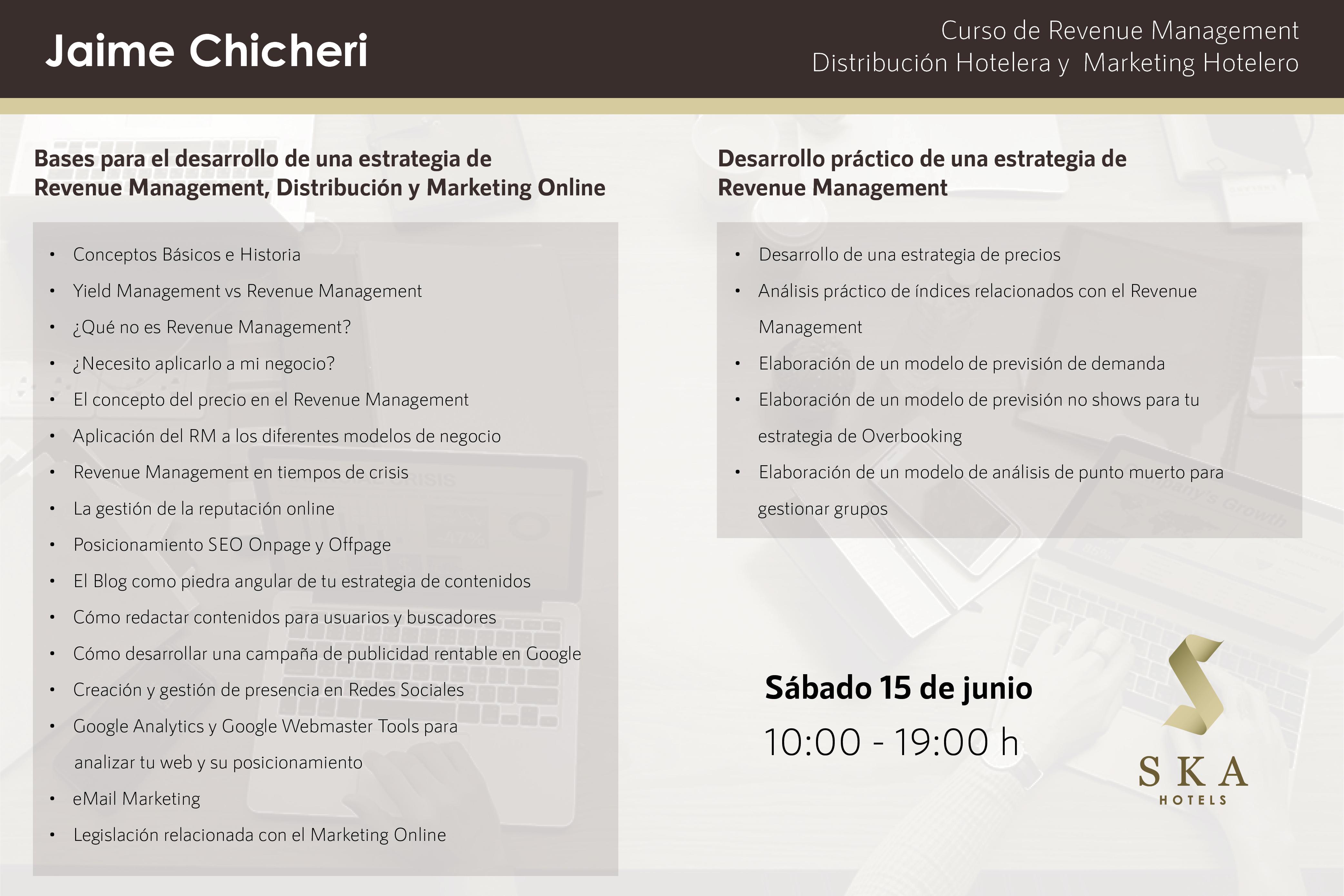 Contenido del Curso Revenue Management, Distribución Hotelera y Marketing Hotelero